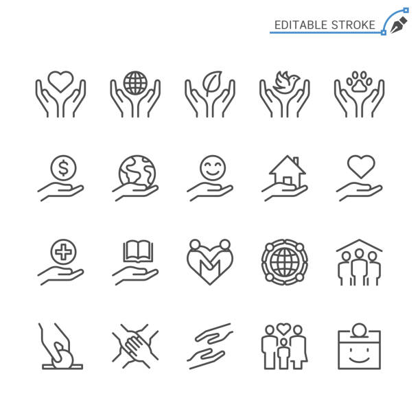charity and donation line icons. editable stroke. pixel perfect. - помощь stock illustrations