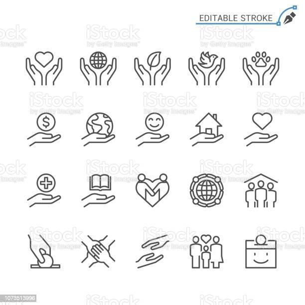 Välgörenhet Och Donationer Linje Ikoner Redigerbara Stroke Pixel Perfekt-vektorgrafik och fler bilder på Barn