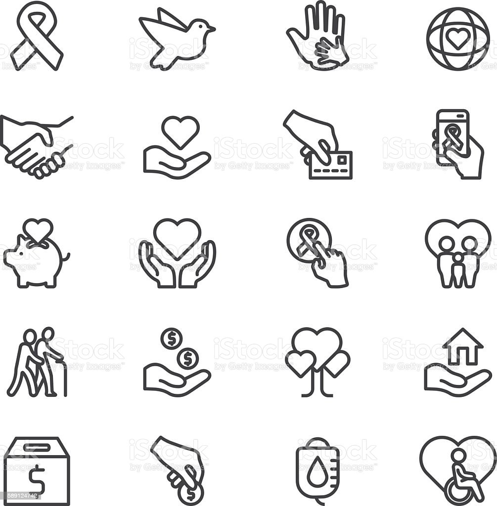 Charity and Donation Line icons | EPS10 vector art illustration