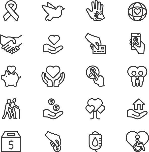 bildbanksillustrationer, clip art samt tecknat material och ikoner med charity and donation line icons | eps10 - recycling heart