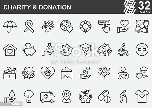 Charity and Donation Line Icons