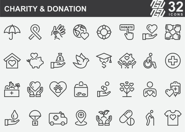 charity and donation line icons - charity and relief work stock illustrations