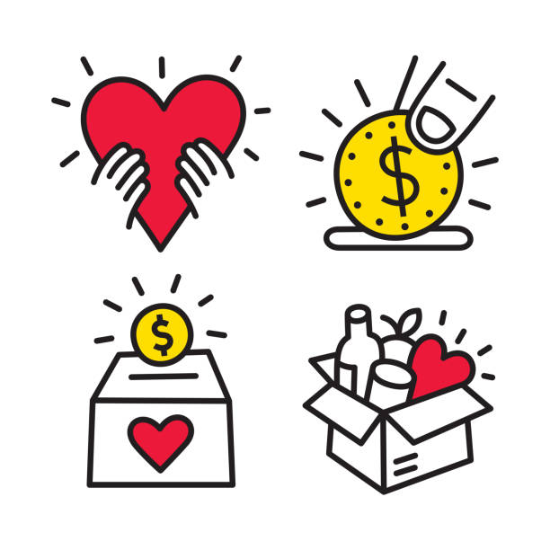 Charity and Donation Line Icons Line vector icon. Vector EPS 10, HD JPEG 4000 x 4000 px food bank stock illustrations