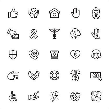 Charity and Donation - Outline Icon Set