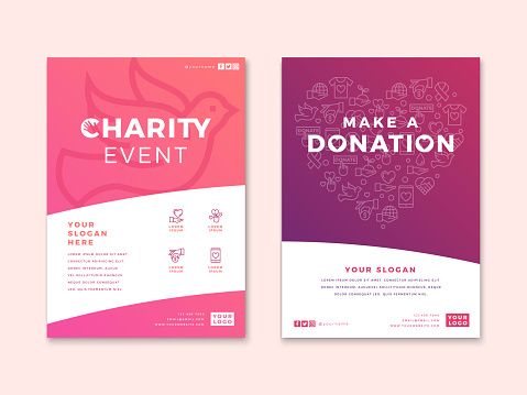 Charity and donation poster design templates.