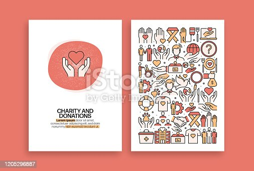 istock Charity and Donation Related Design. Modern Vector Templates for Brochure, Cover, Flyer and Annual Report. 1205296887