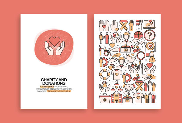 charity and donation related design. modern vector templates for brochure, cover, flyer and annual report. - charity and relief work stock illustrations