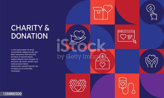 Charity and Donation Related Design with Line Icons. Simple Outline Icons.