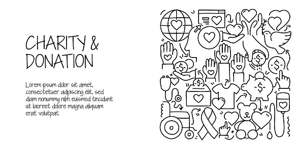 Charity and Donation Related Doodle Illustration. Modern Design Vector Illustration for Web Banner, Website Header etc.