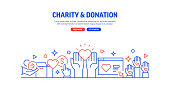 Charity and Donation Related Web Banner Line Style. Modern Design Vector Illustration for Web Banner, Website Header etc.