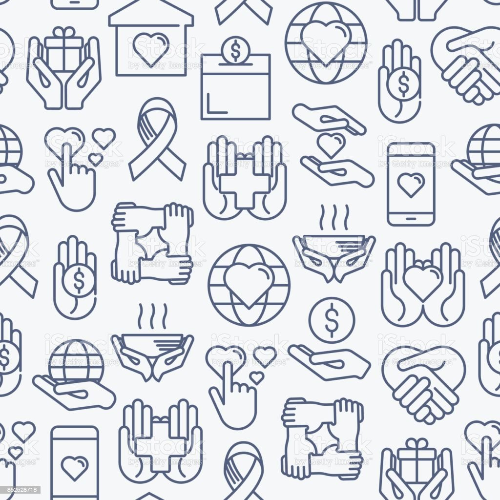 Charity and donation seamless pattern with thin line icons related to nonprofit organizations, fundraising, crowdfunding and charity project. Vector illustration for banner, print media. vector art illustration
