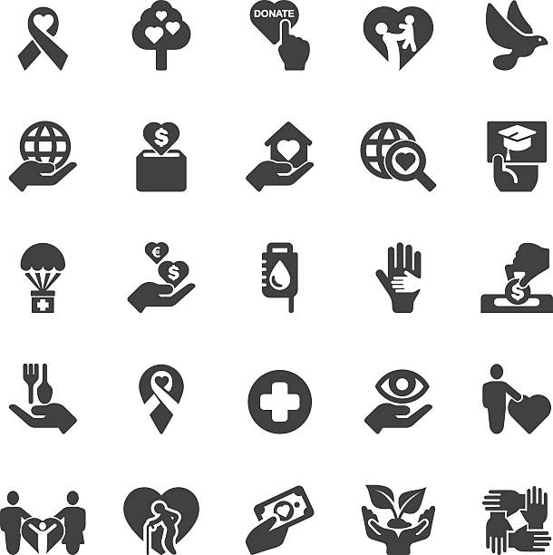 charity and donation silhouette icons | eps10 - aids stock illustrations