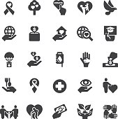 Charity and donation Silhouette icons   EPS10