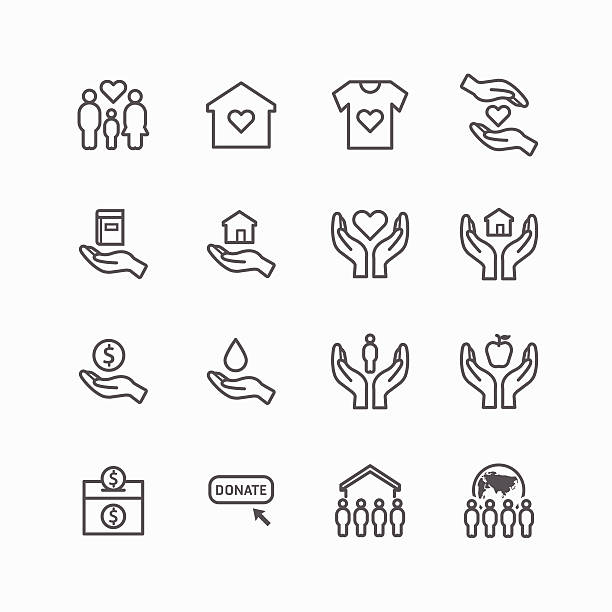 charity and donation silhouette icons flat line design vector charity and donation silhouette icons flat line design vector relief emotion stock illustrations