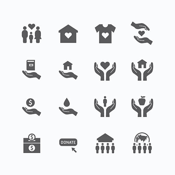 charity and donation silhouette icons flat line design vector - family home 幅插畫檔、美工圖案、卡通及圖標