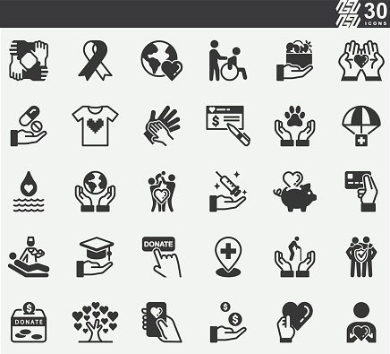 Charity and Donation Silhouette Icons
