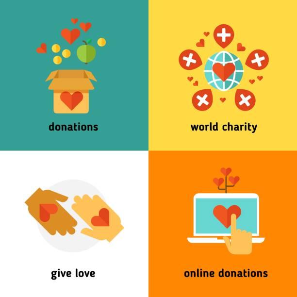 stockillustraties, clipart, cartoons en iconen met liefdadigheid- en donatiebeleid, sociale hulp diensten, vrijwilligerswerk, non profit organisatie platte vector concepten - non profit
