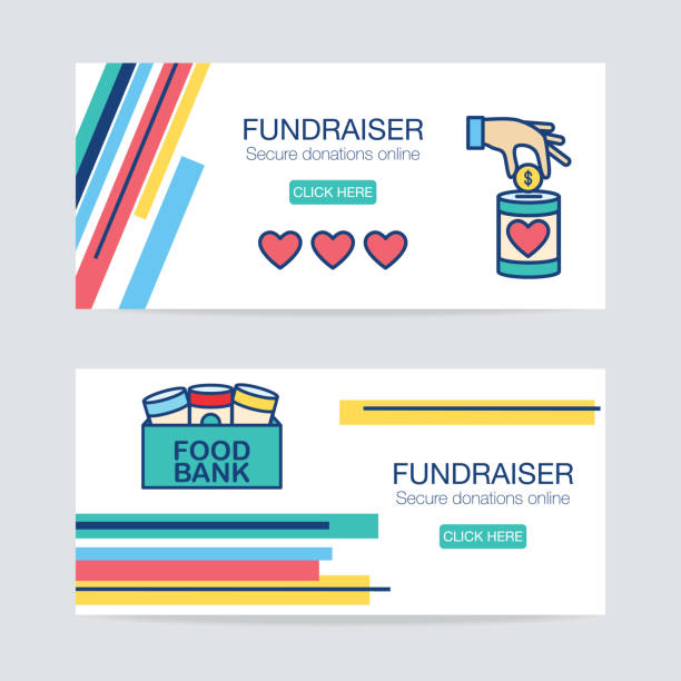 Charity And Donation Thin Line Icon On Brightly Colored Banner Icon in thin line flat design style for charity and donation concept on a vinbrantly colored abstract banner shape. food bank stock illustrations