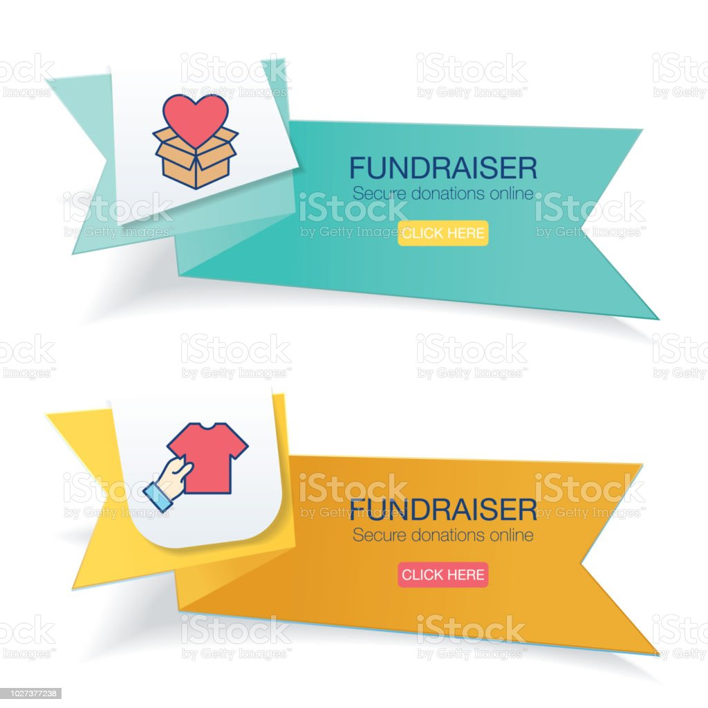 Charity And Donation Thin Line Icon On Brightly Colored Banner vector art illustration