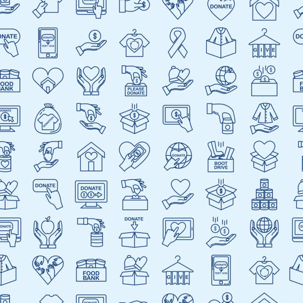 Charity And Donation Thin Line Icon Seamless patttern Icon in thin line flat design style for charity and donation concept repeating background pattern food bank stock illustrations