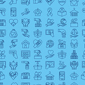 Icon in thin line flat design style for charity and donation concept repeating background pattern