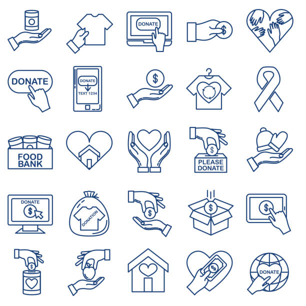Charity And Donation Thin Line Icon Set Icon in thin line flat design style for charity and donation concept food bank stock illustrations