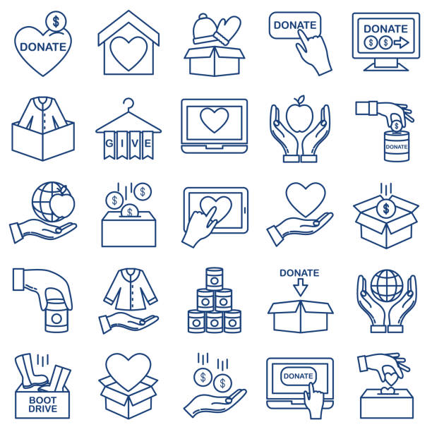 Charity And Donation Thin Line Icon Set vector art illustration