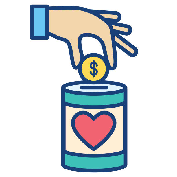Charity And Donation Thin Line Icon Icon in thin line flat design style for charity and donation concept food bank stock illustrations