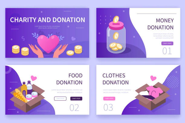 charity and donation Charity and donation concept  banners templates. Can use for backgrounds, infographics, hero images. Flat modern vector illustration. relief emotion stock illustrations