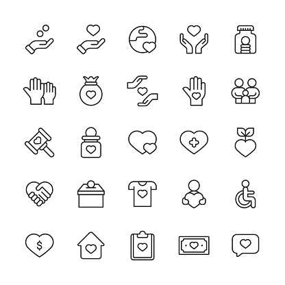Charity and Donations Line Icons. Editable Stroke. Pixel Perfect. For Mobile and Web. Contains such icons as Climate, Clothes, Community, Disability, Ecology, Education, Elections, Environment, Family, Food, Giving Money, Healthcare, Helping Hand, Home.
