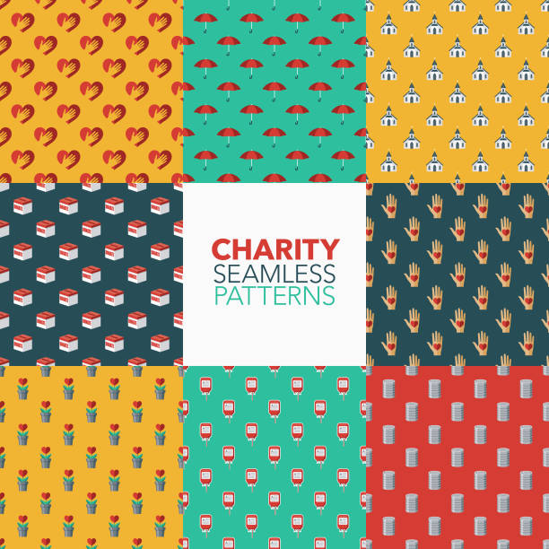 Charity and Donations Patterns A seamless pattern set created from flat design icons, each of which can be tiled on all sides. File is built in the CMYK color space for optimal printing and can easily be converted to RGB. No gradients or transparencies used, the shapes have been placed into a clipping mask. food drive stock illustrations
