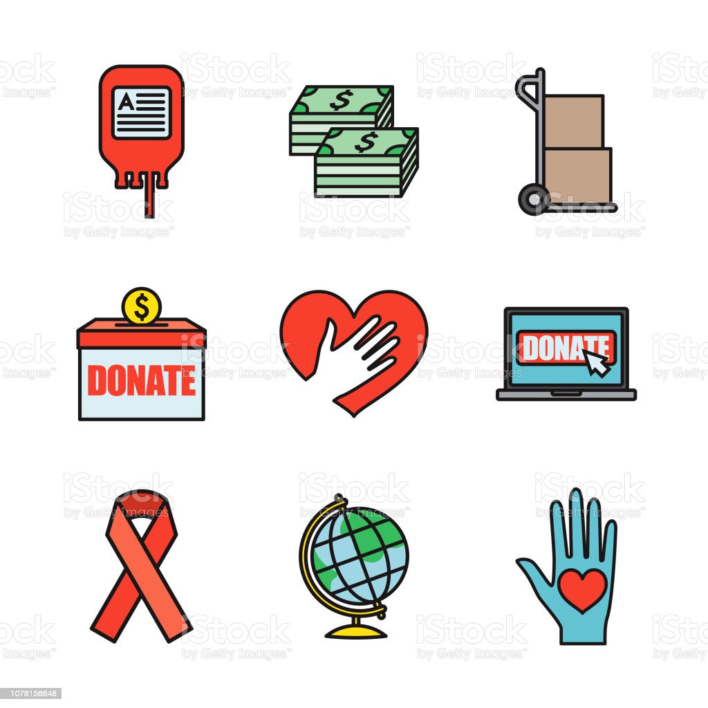 Charity and Donations Thin Line Icon Set vector art illustration