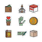 Charity and Donations Thin Line Icon Set