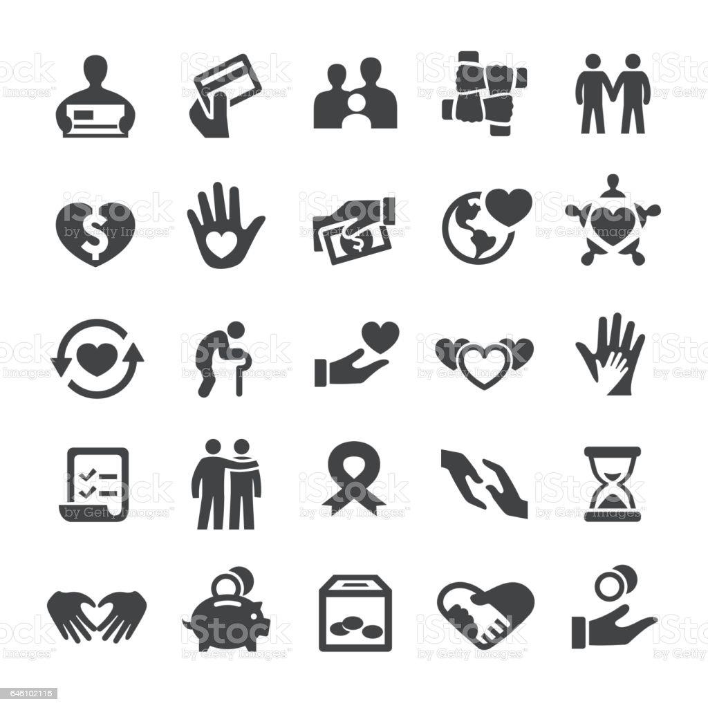 Caridad y dando los iconos - serie inteligente - ilustración de arte vectorial