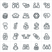 A set of charity and giving icons. The icons include acts of giving, donating, offering support, the poor, people in need, people donating, people offering support, families, individuals, fundraising, rescue, helping hand, hug, arm around shoulder and other related concepts.