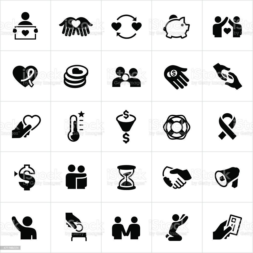 Charity and Giving Icons vector art illustration