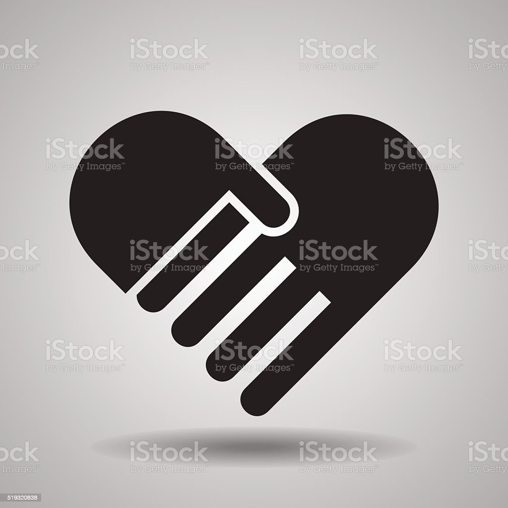 Charity and love, handshake icons vector art illustration