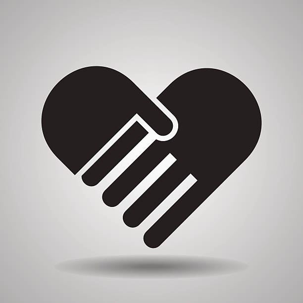 Charity and love, handshake icons Charity and love, handshake icons sheltering stock illustrations