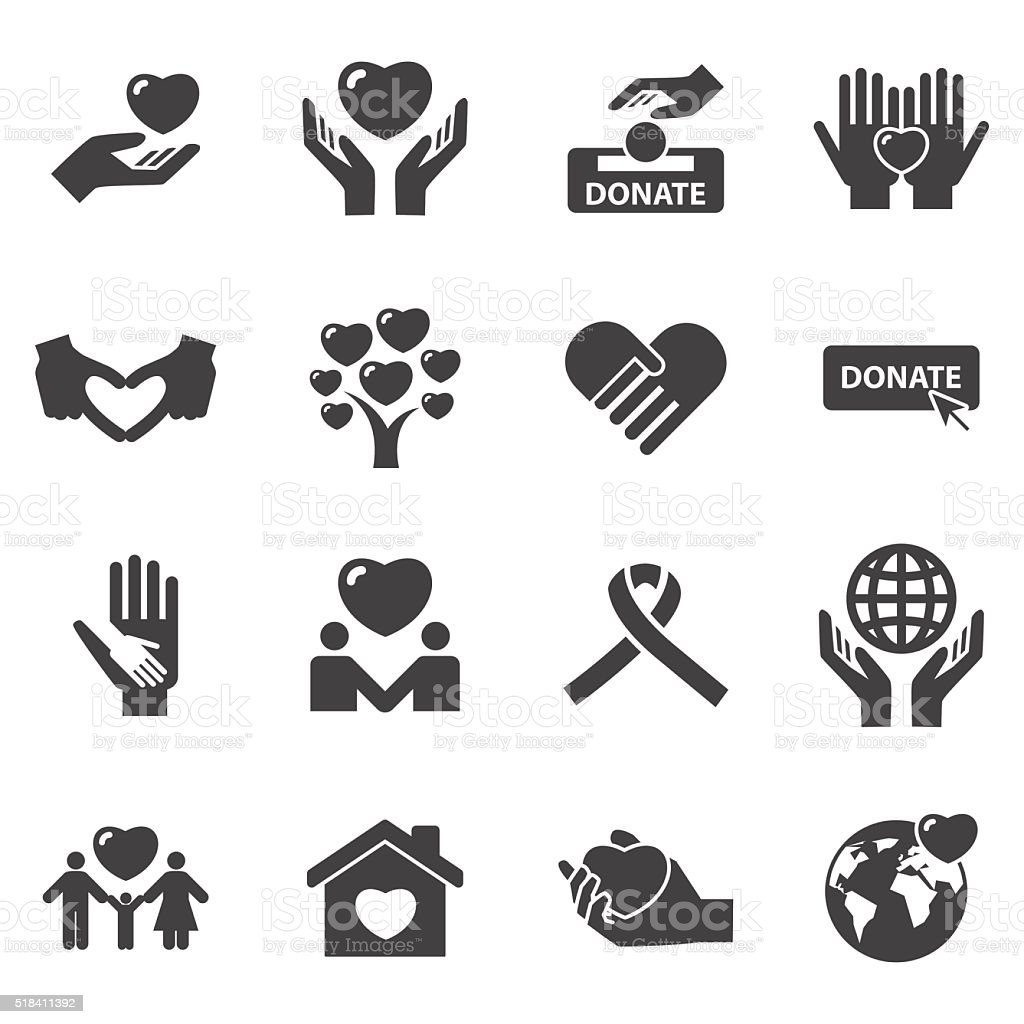 Charity and love icons vector art illustration