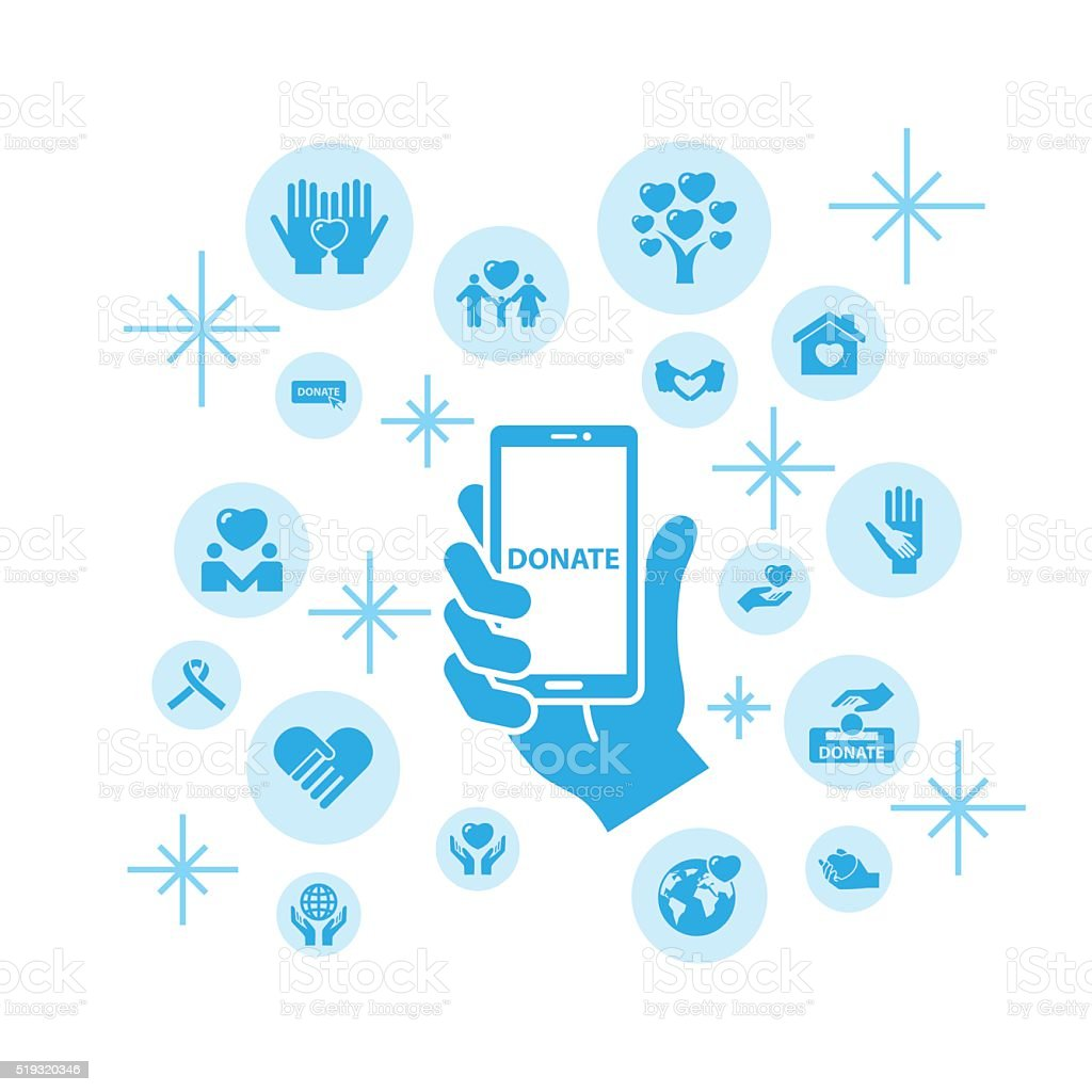 Charity and love icons,Communication via Internet vector art illustration