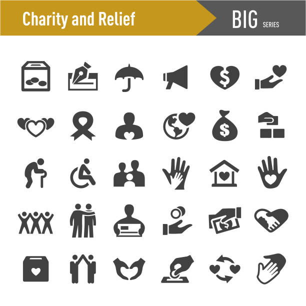 Charity and Relief Icons - Big Series Charity, Relief, relief emotion stock illustrations