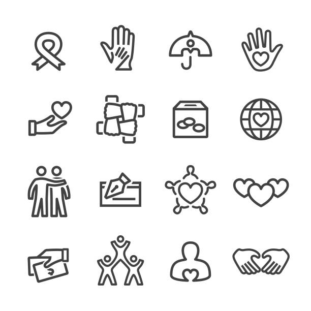 Charity and Relief Icons - Line Series Charity, Relief, charity and relief work, charity benefit, comfort stock illustrations