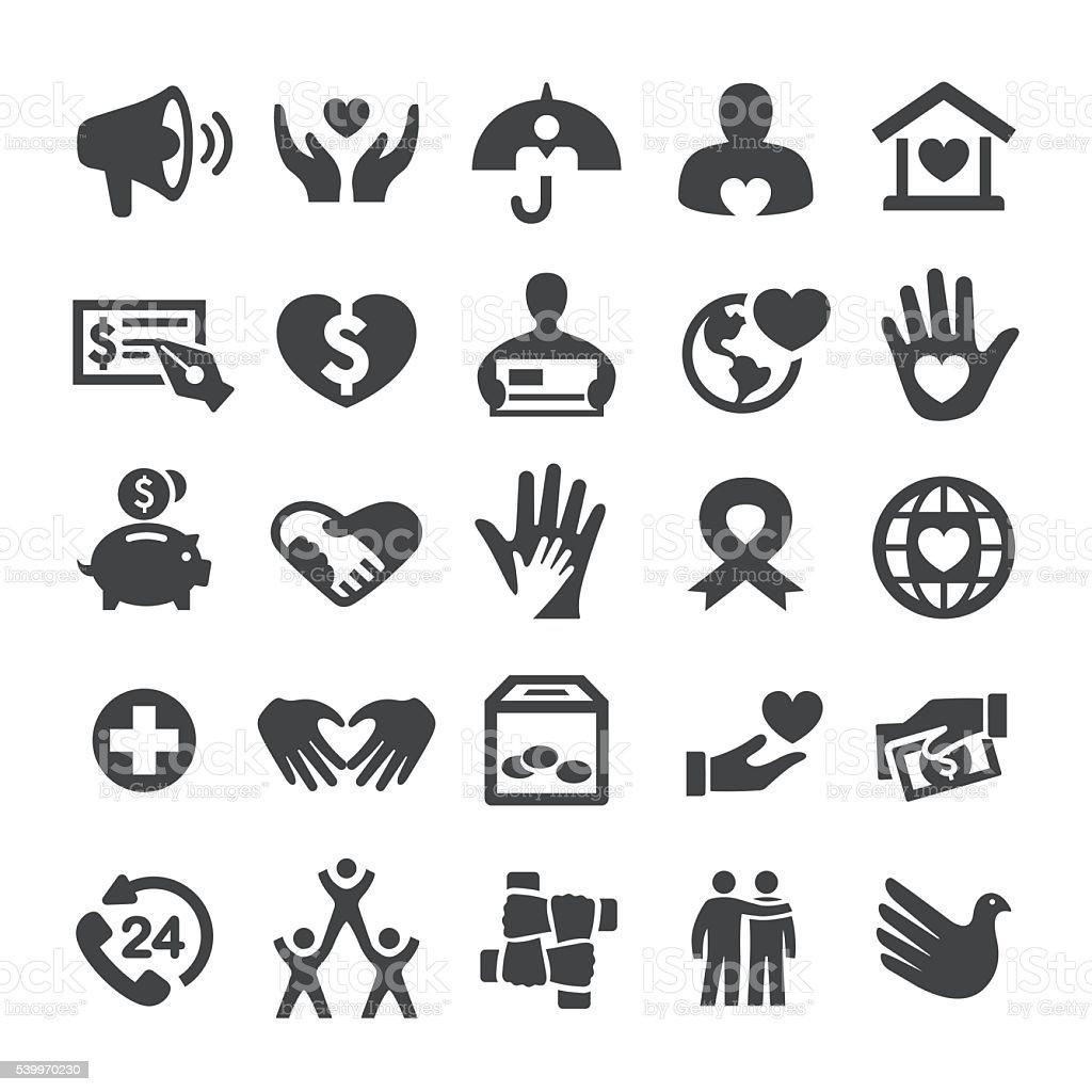 Charité et soulagement icônes-Série élégante - Illustration vectorielle