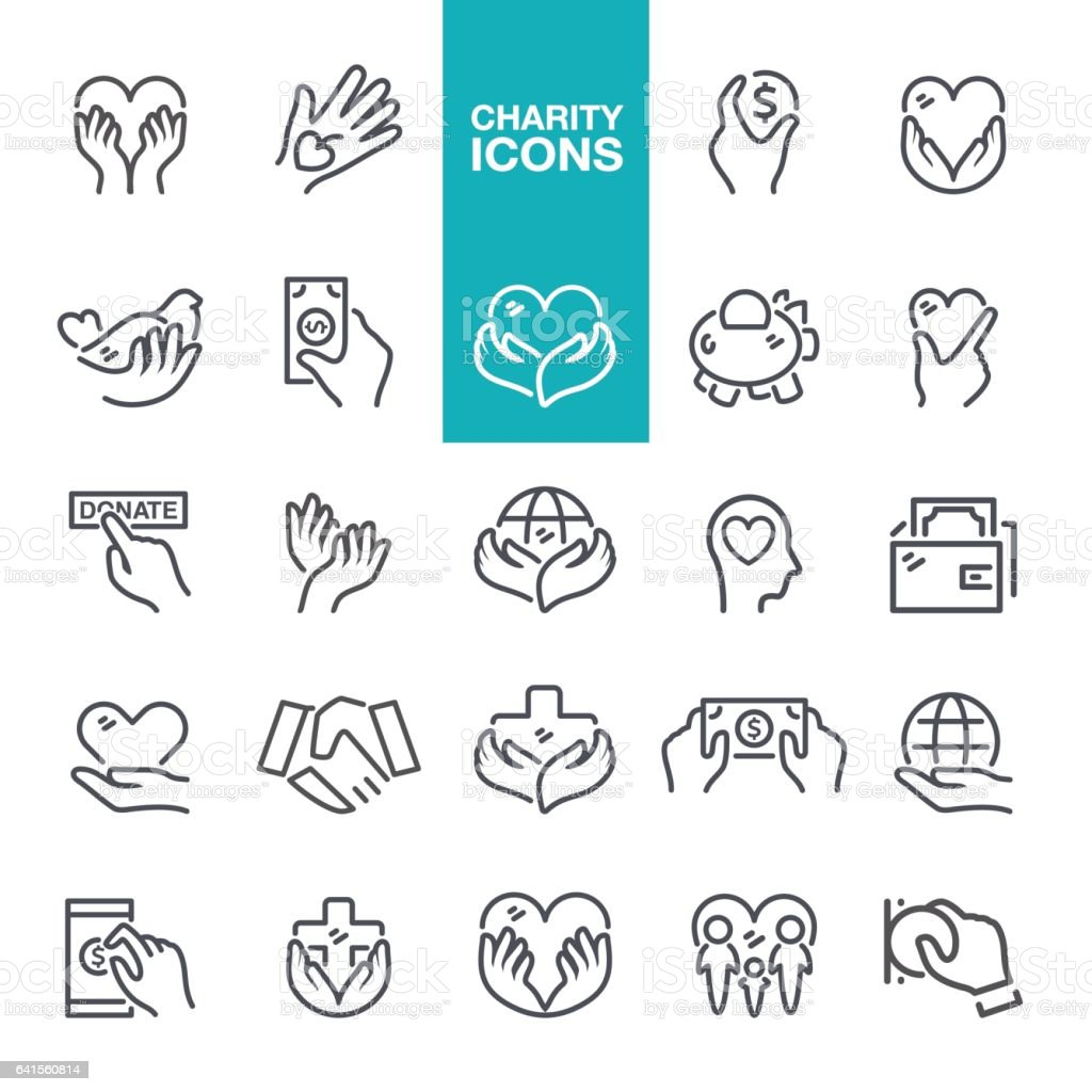 Charity and Relief Icons vector art illustration