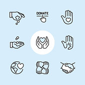 """Charity and Relief / 9 Outline style Pixel Perfect icons / Set #08  First row of icons contains: Giving money, Click on Donate button, Hand with heart (Volunteer).  Second row contains: Coins in hand, Love and care, Human hand holding child's hand.  Third row contains: Globe with Heart, Mutual support, Handshake.   Pixel Perfect Principle - all the icons are designed in 64x64px grid, outline stroke 2px. Complete """"Outline 3x3 Blue"""" collection - https://www.istockphoto.com/collaboration/boards/eKCvfOhp3E-XZOE0AIzWqg"""