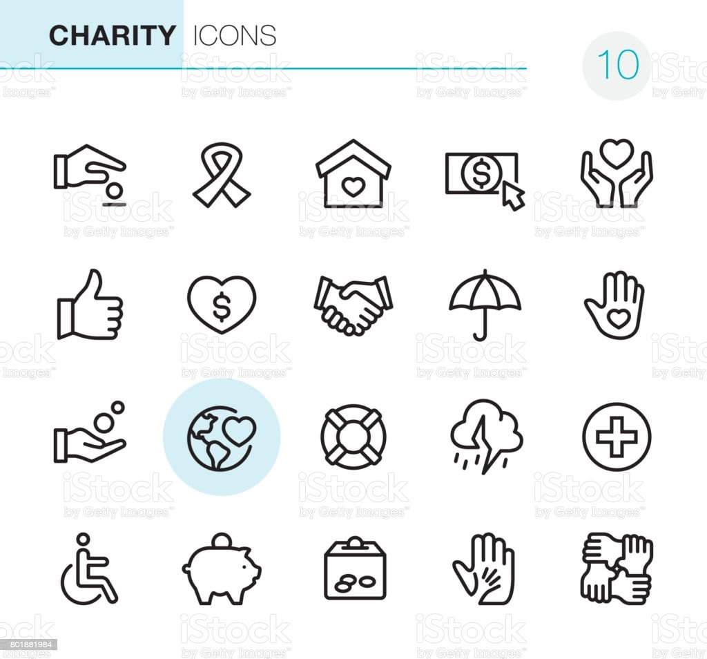 Charity and Relief - Pixel Perfect icons vector art illustration