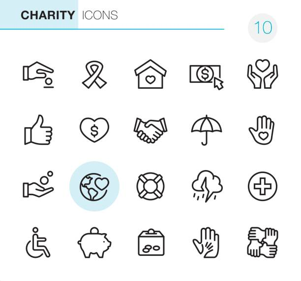 Charity and Relief - Pixel Perfect icons 20 Outline Style - Black line - Pixel Perfect icons / Set #10 a helping hand stock illustrations
