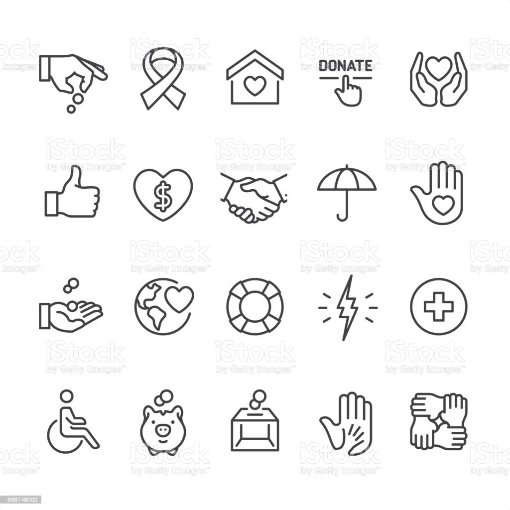 Charity and Relief theme - outline vector icons