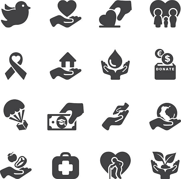 Charity and Relief Work Silhouette icons | EPS10 Charity and Relief Work Silhouette icons  sheltering stock illustrations