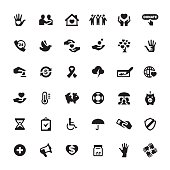 Charity and Relief Work related symbols and icons.